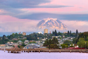 Mount Rainier over Tacoma WA waterfront. Building solutions.